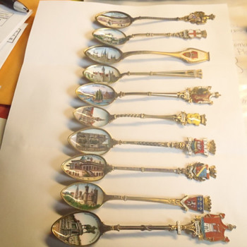 Any worth to these painted demitasse spoons from various european countries? - Sterling Silver