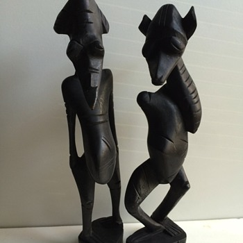 Carved African Ebony Wood Folk Art Figures - Visual Art