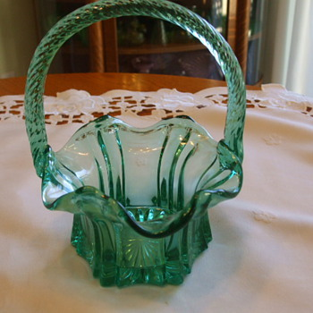 Beautiful TEAL GREEN Reeded Handle BASKET- Unknown Mark?