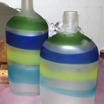 "Pair of Signed ""Gino Cenedese Murano"" Bottles - Any Info Appreciated!"