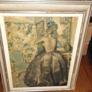 1933 Pastel Painting Lady Dressing - Visual Art