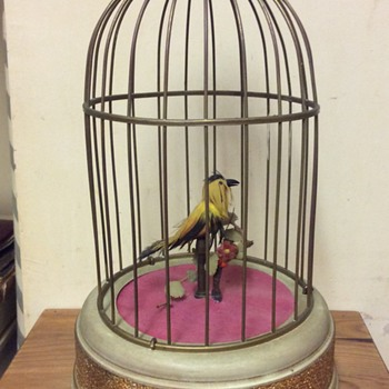 Vintage c1920 German bird in birdcage key wind gilt & turquoise music box