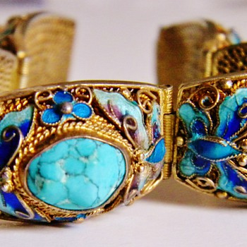 Antique Chinese Turquoise Butterfly Enamel Silver Gilt Panel Bracelet - Asian