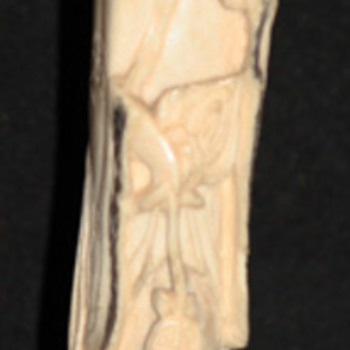 Old Asian bone carving/girl with compartment through head revealing miniscule animal carvings on seeds. - Asian