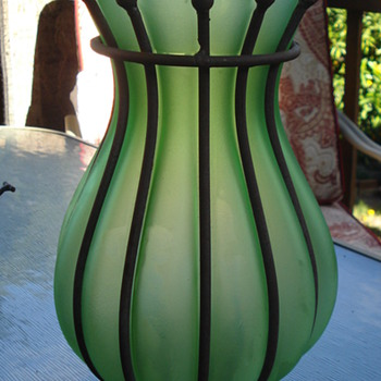 Green vase/Metal  - Art Glass