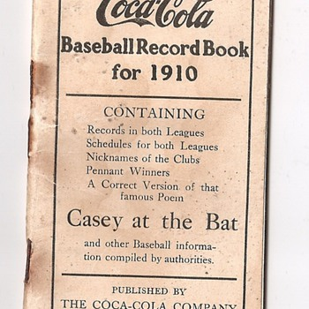 1910 coca-cola baseball record book