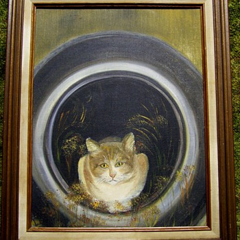 Cool Cat in a Tire Folk Art Oil Painting.  - Folk Art