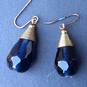 Antique blue faceted glass earrings