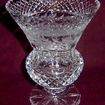 Cut Glass Waffle Diamond Bands Panelled Thumbprint Floral Edge Footed Vase - Glassware