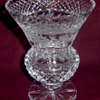 Cut Glass Waffle Diamond Bands Panelled Thumbprint Floral Edge Footed Vase
