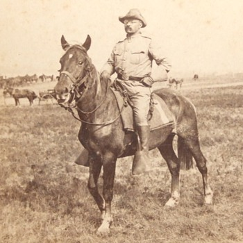 Stereoview of COL Roosevelt on his horse c. 1898