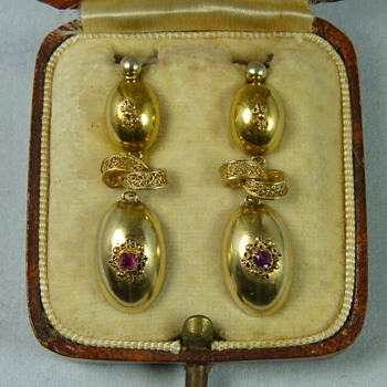 Three Sets of Regency to Mid Victorian Gold and Gemset Earrings - Fine Jewelry