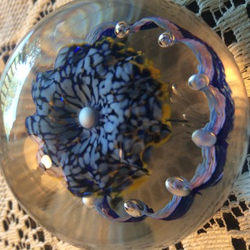Beautiful Floating Petunia Paperweight! - Art Glass