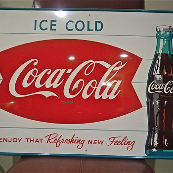 1963 ICE COLD Coca Cola Bottle Sign