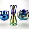 3 Loetz Cobalt Papillon vases w/ 9 Handles circa 1900-1918