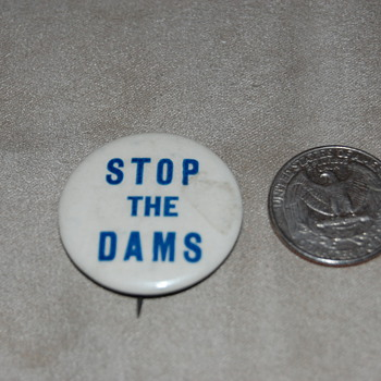 "Old ""Stop the Dams"" pin"