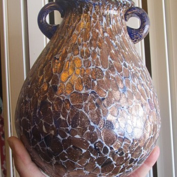 Cobalt blue glass gold over it  - Art Glass