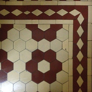 Portuguese cement tiles mosaic floor.