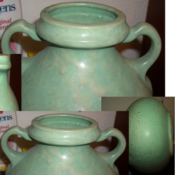 A Very Stunning Green Handled Vase Vessel  - Art Pottery