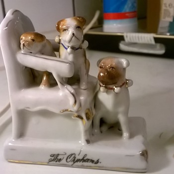 "For Arthur36----->Antique German Porcelain Fairing, ""THE ORPHANS"" + An Extra Friend :-) - Figurines"