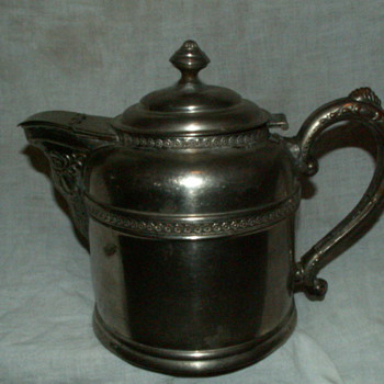 Antique Rome Metal Ware Kettle ~ Silver-Over-Copper