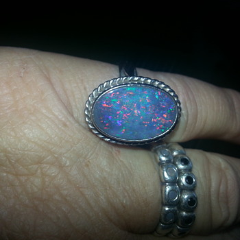 "AUSTRALIAN ""BLACK"" OPAL WHITE GOLD"