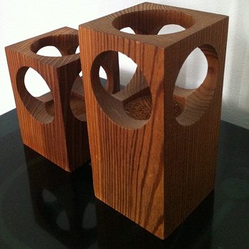 Wooden candle holders.