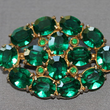 Green Rhinestone Brooch - Costume Jewelry