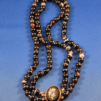 Victorian Scottish Banded Agate bead necklace Micro Mosaic clasp.