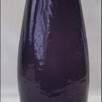 DEEP PURPLE CRACKLE GLASS VASE - Art Glass