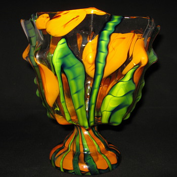 Czechoslovakia Kralik art glass Knuckle Vase Bambus Decor   - Art Glass