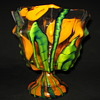 Czechoslovakia Kralik art glass Knuckle Vase Bambus Decor