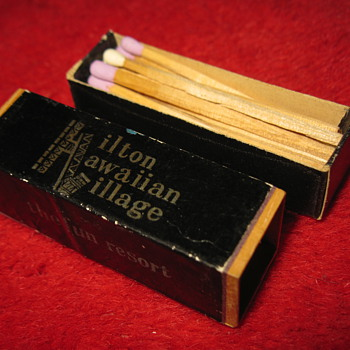 very old Hilton Hawaiian Village bamboo wood rectangle Matchbox, made in japan, unused..