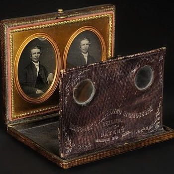 Mascher Stereo Daguerreotype Viewer with Original Image Pair, c.1853