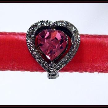 1970's PINK HEART VELVET CHOKER -- Mine ( LOL ) - Costume Jewelry
