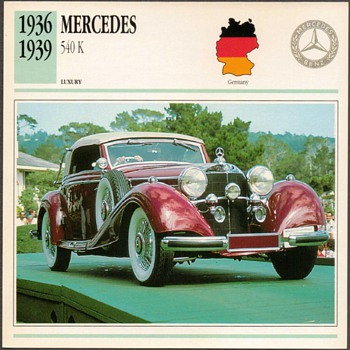Vintage Car Card - Mercedes 540 K - Classic Cars