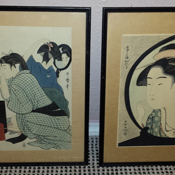 2 Antique Japanese Woodblock Prints Signed