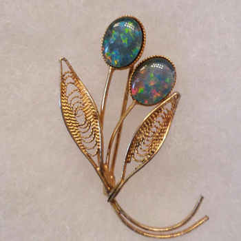 Opal & Bay Leaf Pin/Brooch - Accessories