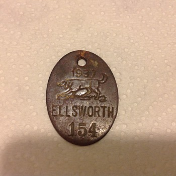 1937 Registered Hounddog Tag... - Medals Pins and Badges
