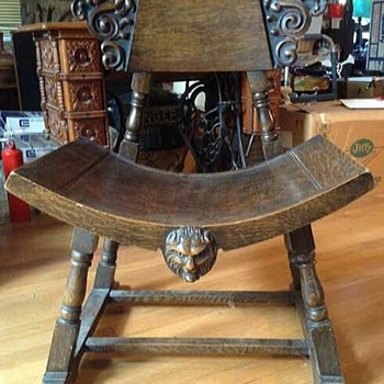 Antique Gothic Looking Chair With Carved Figures - Furniture