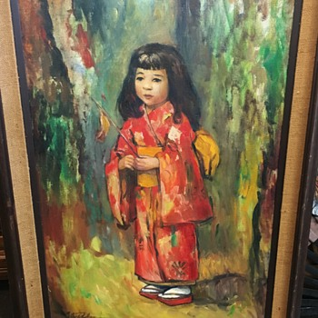Asian-themed Mid Century Painting of a Young Girl in a Kimono [or something?] - Visual Art