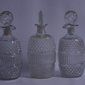 Three Mould Blown Decanters - Art Glass