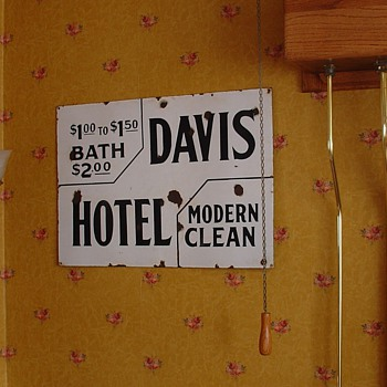 "Early 1900's Porcelain Sign...Two Colors...""Davis Hotel"" from Shipshewana,Indiana"
