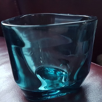 "Iittala ""TRIS"" Votive blue glass candle holder"