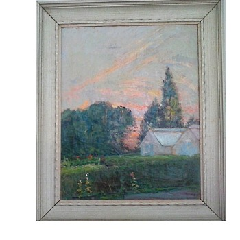 """After Glow In The Garden"" Oil On Canvas 24.5""x 20.5"" Framed/ Signed And Titled On Reverse/ Circa 19th Century - Fine Art"