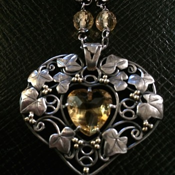 Arts & Crafts Citrine Heart Necklace