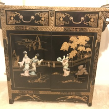 Chinese black lacquer mother of pearl liquor cabinet - Furniture