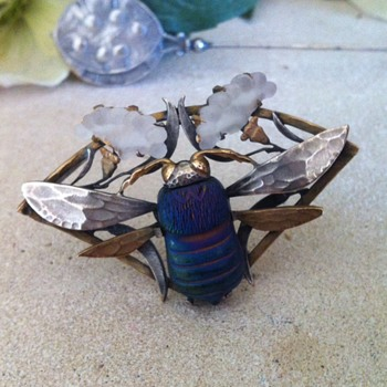 Art nouveau favrile glass and pate de verre insect brooch.