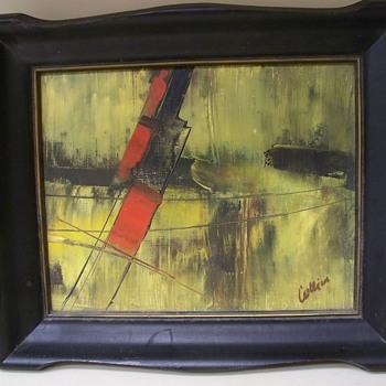 Vintage Abstract Painting -  Signed Collier or Collin??  Info request  - Visual Art