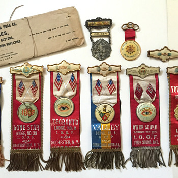 Odd Fellows Ribbons, Medallions & Celluloid Pins - Medals Pins and Badges